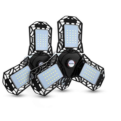 Led Garage Lights, 2 Pack Deformable Garage Ceiling Lights, CRI80 Led Shop Lights with 3 Adjustable Panels, 3 Prong Garage Work Lights for Workshop Basement Bay Lighting, Black