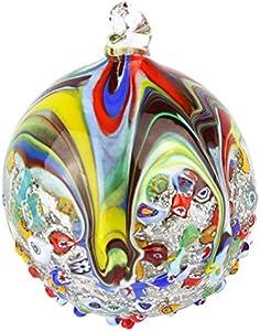 Bola de Navidad – Hoja de plata y millefiori – Cristal de Murano Navidad
