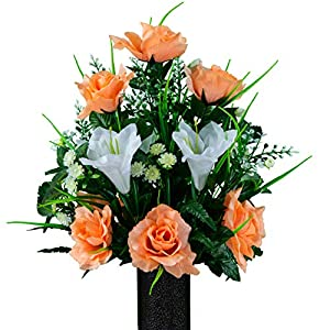 Sympathy Silks Artificial Cemetery Flowers – Realistic – Outdoor Grave Decorations – Non-Bleed Colors, and Easy Fit – White Amaryllis & Peach Rose Bouquet