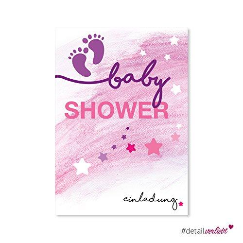 #detailverliebt 15 Einladungskarten Baby Shower I dv_147 I DIN A6 I Einladung Set Baby-Party rosa lila Mädchen Girl Invitations