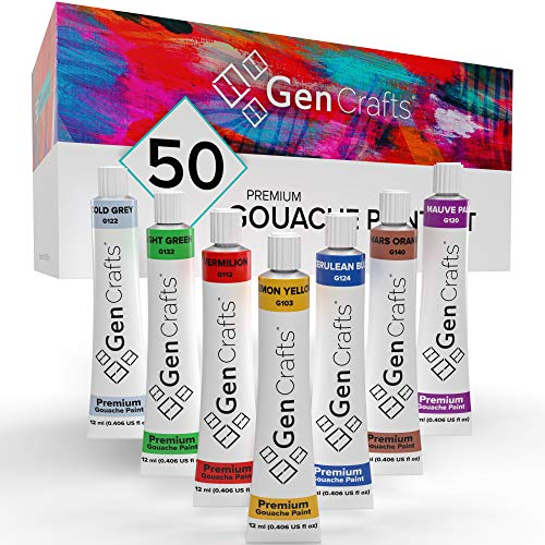 GenCrafts Gouache Paint Set - Set of 50 Premium Vibrant Colors - (12 ml, 0.406 oz.) - Quality Non Toxic Pigment Paints for Canvas, Fabric, Crafts, and More - for All Artists: Adults and Kids