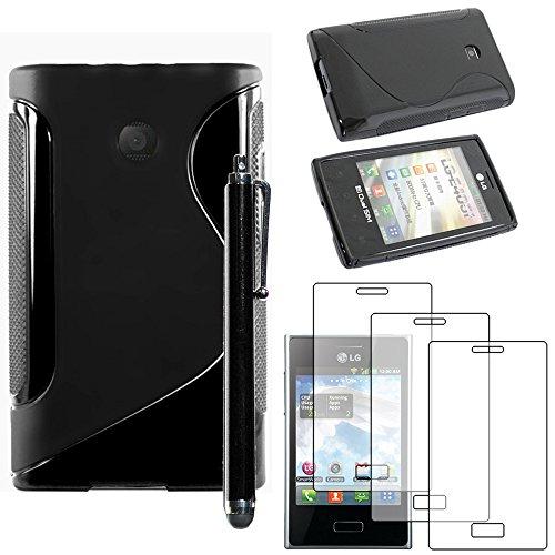ebestStar - Cover Compatibile con LG Optimus L3 E400 Custodia Protezione S-Line Silicone Gel TPU Morbida e Sottile +Penna +3 Pellicole plastica, Nero [Apparecchio: 102.6 x 61.6 x 11.9mm, 4.3'']