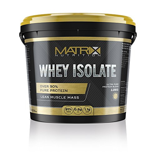 Matrix Nutrition Pure Whey Protein Isolate | Low Fat & Sugar Lean Muscle Builder Powder