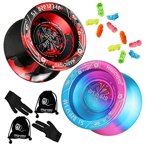 Pack of 2 MAGICYOYO Professional Yoyos T5 Plus Overlord, Basic Unresponsive Yoyo Balls, Metal Ball Bearing Yo-Yo, Bonus - 10 Replacement Strings, 2 Bags, 2 Gloves (Blue Pink + Black Red)