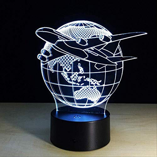 3D Nachtlicht Nachtlicht Lampe 3D Lampe Erdplan Flugzeug Globus Erde 7 Farbwechsel Kind Kind Waschtisch Schreibtisch Dekoration Halloween Weihnachtsschalter Ein 3 Farben Erdplan