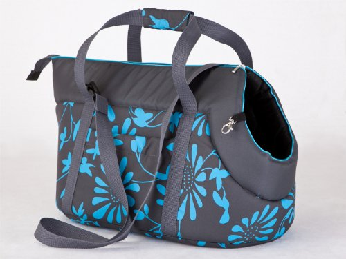 Hundetasche Hundetasche Tragetasche Katzentasche (8 - Grau mit blauen Blumen, 3 - HxBxL  - 32x30x50 cm)