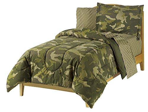 Dream Factory Easy-Wash Super Soft Comforter Bedding, Twin, Green Geo Camo