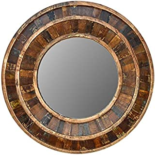 "Sponsored Ad - Favors Handicraft 36"" Round Reclaimed Wooden Framed Decorative Farmhouse Mirror"