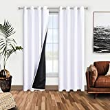 WONTEX 100% White Blackout Curtains for Bedroom 52 x 84 inches Long - Winter Thermal Insulated, Energy Saving, Sun Blocking Lined Window Curtain Panels for Living Room, Set of 2 Grommet Curtains