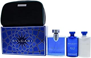 Bvlgari Blv for Men - 4 Pc Gift Set 3.4oz EDT Spray, 2.5oz After Shave Balm, 2.5oz Shampoo Shower Gel, Pouch, 4 Count