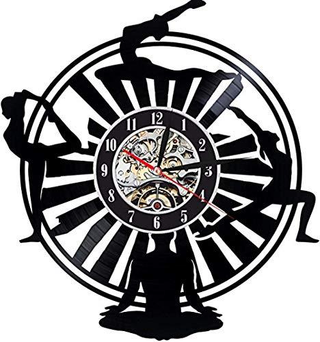 Reloj de pared de vinilo para yoga, diseño deportivo exclusivo, regalo perfecto para mujer, mamá o hermanas, decoración para salón, deporte, club, bailarines, elástico, no LED