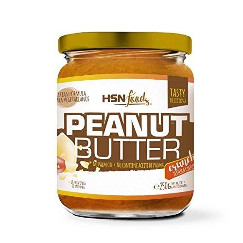HSN Crema de Cacahuete Natural Peanut Butter Crujiente - Crunchy - 100% Sabor | Apto Vegetariano, Sin Grasa de Palma, Sin Grasa Trans, Sin azúcar ni Sal añadidos, 250g