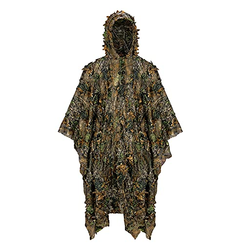 Ginsco 3D Leaf Woodland Poncho Ghillie Suit Camouflage Clothing for Hunting Bird Watching Halloween Poncho Military Training Outdoor Gaming Airsoft Wildlife Photography