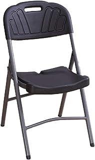 UCYG Sillas Plegables Oficina Camping Jardin Exterior, Silla Plegable Cocina Ligera Metal, Carga Máx 150 kg, 86x38x48cm (Color : Black)