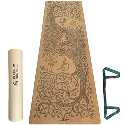 Platinum Sun Extra Large Non-Slip Cork Yoga Mat with Designs, with Carry Strap & Luxury Gift Box - Great for Hot Yoga, exercise, Pilates 73'' Long x 25'' Wide x 5mm thick - Wisdom Tree