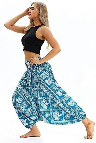 JY&WIN Pantalones de Yoga,Mono Suelto para Mujer,Pantalones Anchos Florales de Moda para Mujer,Talla única,L