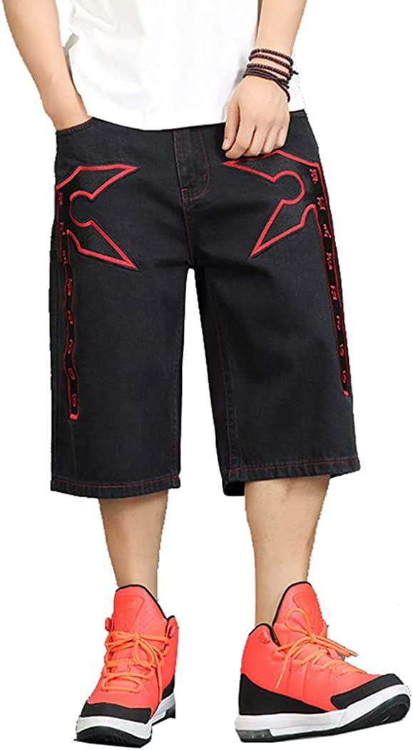 Plus Size Hiphop Skatedboard Jeans Casual Baggy Men's Jean Shorts Red Embroidery Loose Demin Short Pants for Men