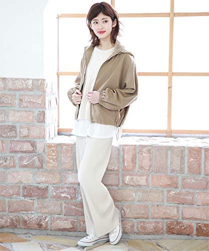 『[アドティエ]マウンテンパーカー 裾ゴム 光沢素材 ジップアップ アウター レディース 秋 冬19507002ブラウン M』の3枚目の画像