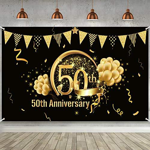 Decoración de Fiesta de Oro Negro de 50 Cumpleaños, Cartel de Oro Negro de Tela Extra Grande para 50 Aniversario Banner de Fondo de Fotomatón, Suministros de Fiesta de 50 Cumpleaños