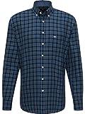 FYNCH-HATTON Camisa de franela a cuadros para hombre. azul marino XL