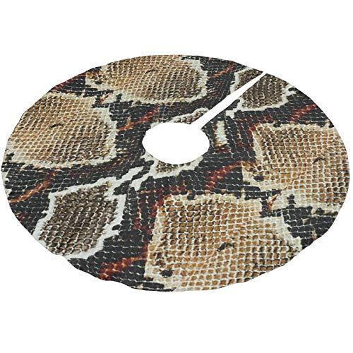 Viowr22iso Christmas Tree Skirt 91 cm, Brown Black Red Animal Print Snake Skin Large Xmas Tree Mat Farmhouse...