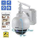 Camera Surveillance WiFi Exterieure, Dôme Caméra IP sans Fil HD 1080P 360° avec 5X Zoom IR-Cut, Audio bidirectionnel, Vision Nocturne, IP66 Waterproof, Alerte de Détection de Mouvement