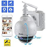 Dôme Caméra de Surveillance Wifi Sans Fil, IP Camera Surveillance Extérieure HD 1080P 360° avec 5X Zoom IR-Cut, Audio...