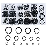 INNKER 300Pcs External Retaining Rings E-Clip 15 Size Snap Ring Internal Circlip Alloy Steel External Circlip Snap Retaining Clip Ring Assortment Set