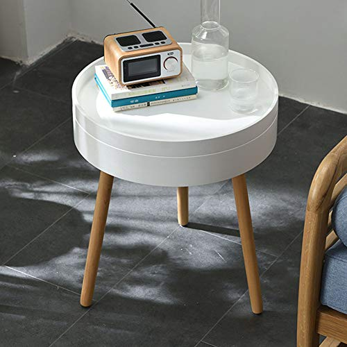 ZCPDP Corner Side Table Living Room Simple Solid Wood Storage Sofa Small Round Table Mini Bedside Table Simple Coffee Tabl