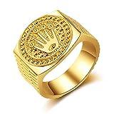 Special&kind Preferred Fashion Hip Hop 18K Gold Iced Out Crown Ring für Herren Verlobung Hochzeit Party Ringe Schmuck für Geburtstag, Valentinstag, Jahrestag GD-11