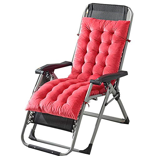 ZHHL - Cojín para tumbona de ratán alto reclinable para silla, portátil, cómodo y antideslizante, Rojo sandía, 130*50*10