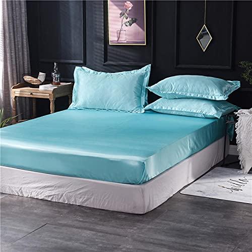 XGguo Protector de colchón - óptimo antiácarosSábana de Color Puro Cubierta de Cama Completamente Cubierta-Azul Agua_180x200cm
