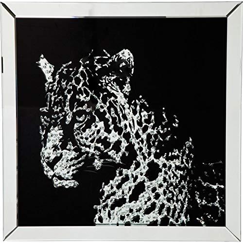 Kare DesignBild Frame Mirror Leopard, Dekobild leopard, Dekobild verspiegel, Spiegelbild Leopard, (H/B/T) 80x80x4,5cm
