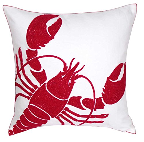 DECOPOW Embroidered Nautical Decor Pillow Covers,Square 18 Inches Decorative Canvas Pillow Cover for Nautical Style Deco by (Red-Lobster)