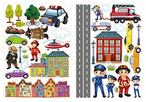dekodino® Wandtattoo Polizei, Feuerwehr und Autos Set Kinderzimmer Deko