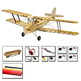 Viloga Balsa Wood Model Plane Mini Tiger Moth Biplane, 39'' Wingspan Laser Cut Electric RC Plane Kit to Build for Adults, DIY 4CH Radio Controlled Airplanes Aircraft Assembly Kit for Hobby Fly
