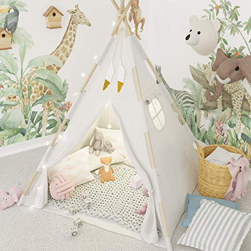 TazzToys Kids Teepee Tent for Kids with Fairy Lights +Waterproof Base + Feathers - Quality & Safety...