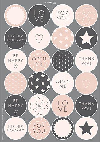 TYSK Design Geschenkaufkleber Marmor (Design wählbar) 48 x Papieraufkleber matt Aufkleber für Geschenke rund 45 mm Sticker Geschenksticker