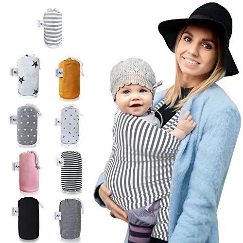 Fastique Kids® Tragetuch - elastisches Babytragetuch für Früh- und Neugeborene inkl. Baby Wrap Carrier Anleitung (weiss/grau)