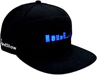 Fcostume Mode Cap LED Cool Hut mit Bildschirm Licht wasserdichtes mit Smartphone Gesteuert (Schwarz)
