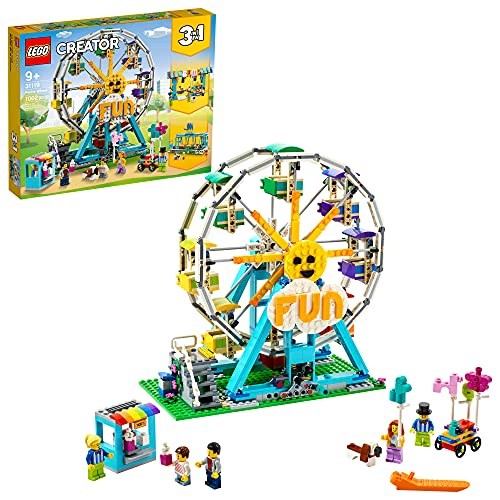 LEGO Creator 3in1 Ferris Wheel 31119 Building Kit with Rebuildable Toy Bumper Cars, Boat Swing and 5 Minifigures; New 2021 (1,002 Pieces)