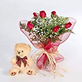 REGALAUNAFLOR-Ramo 6 rosas rojas con osito-FLORES FRESCAS-Entrega en 24 horas de lunes a sabado.