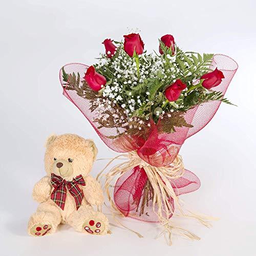 REGALAUNAFLOR-Ramo 6 rosas rojas con osito-FLORES FRESCAS-Entrega en 2
