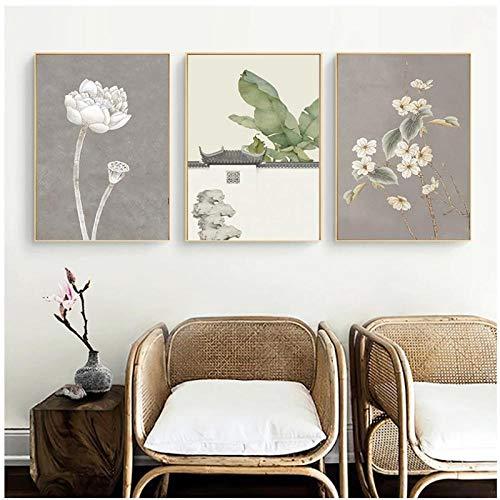 BINGJIACAI Pintura de lienzo de tinta tradicional china Flor de loto Budismo Imagen de arte de pared Cartel de semilla de loto amarillo e impresión Decoración para el hogar-40x60cmx3 Sin marco