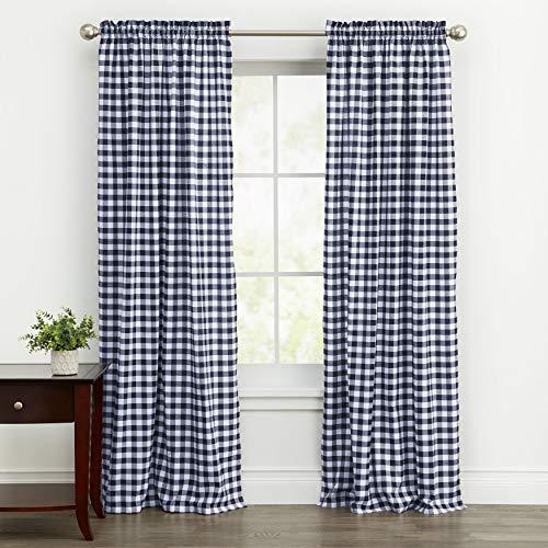 "Woven Trends Farmhouse Curtains, Buffalo Plaid Drapes, Classic Country Plaid Gingham Checkered Design, Farmhouse Decor, Window Curtain Treatments 42"" x 84"" Single Panel, Navy Blue"