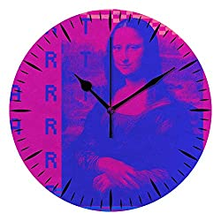 Kuizee Silent Wall Clock Non Ticking Battery Operated Pixels Art Vaporwave Retrowave Pink Mona Lisa's Smile Uncovered Decoration Home Office Bedroom Living Room Mute Clock 10Inch