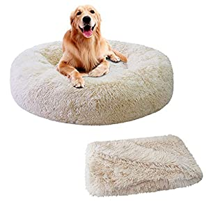 Patas Lague 2-Piece Donut Calming Dog Bed Set (1 Bed, 1 Blanket), Faux Fur Plush Cat Pet Bed, Comfortable and Washable, (24 inches, Beige)