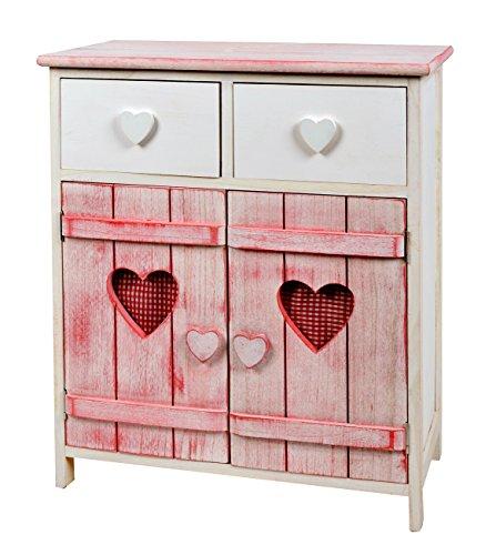 ts-ideen Cómoda estantería armario de madera estilo de la alquería rustico shabby para baño pasillo cocina sala blanco rosa corazoncitos