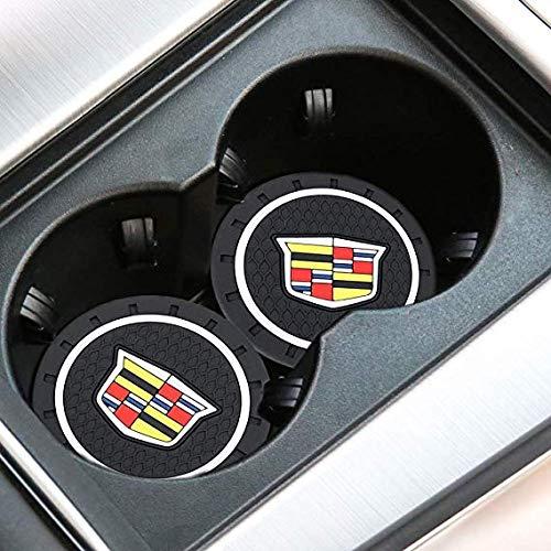 Fujun Upgraded 2 Pcs 2.75 inch Car Interior Accessories Anti Slip Cup Mat for Cadillac, fit for Escalade, CTS, SRX, BLS, ATS, STS, XTS, SXT, etc All Models