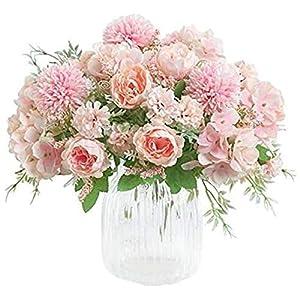 XJJ Farfly Artificial Flowers, Fake Peony Silk Hydrangea Bouquet Decor Plastic Carnations Realistic Flower Arrangements Wedding Decoration Table Centerpieces 2 Packs (Pink) Flower Decoration